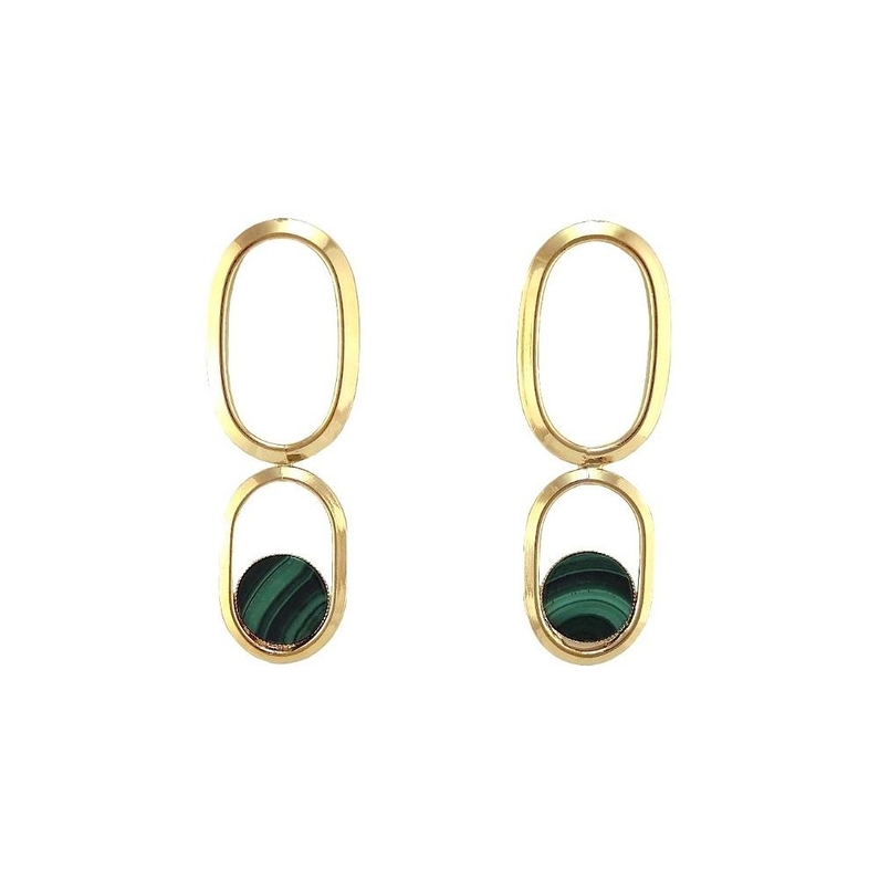 Boucles d'oreilles SHAPE double Malachite
