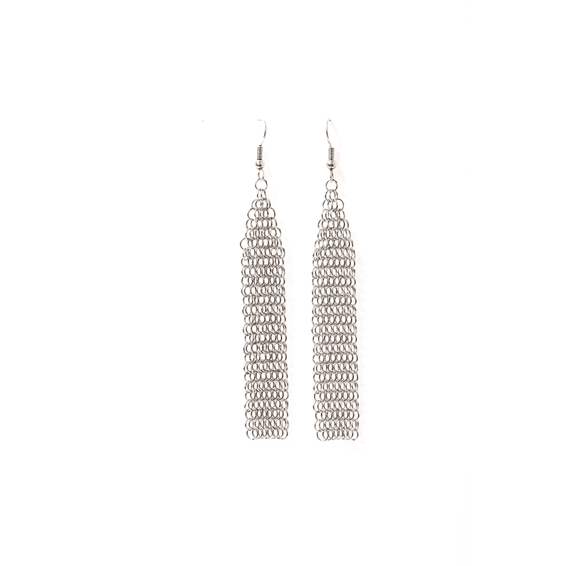 Collection B long silver earrings