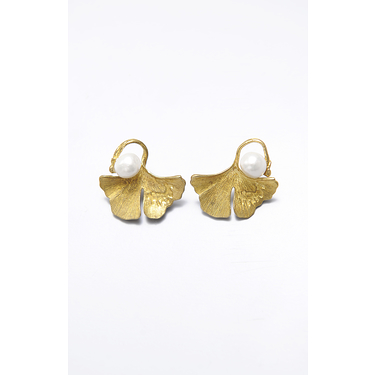 Earrings Balsa Pearl Ginkgo