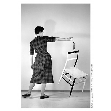 Poster woman with Superleggera chair