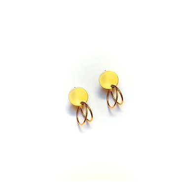 Earrings Golden Round And Two Rings