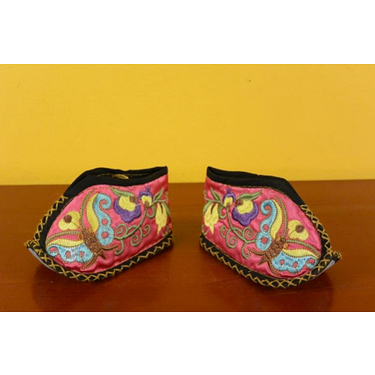 Pink butterfly Miao babies booties