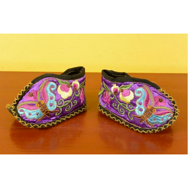 Purple Butterfly Miao babies booties