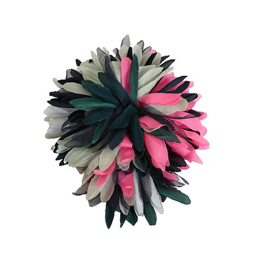 Broche Anemone Green Navy Fuchsia