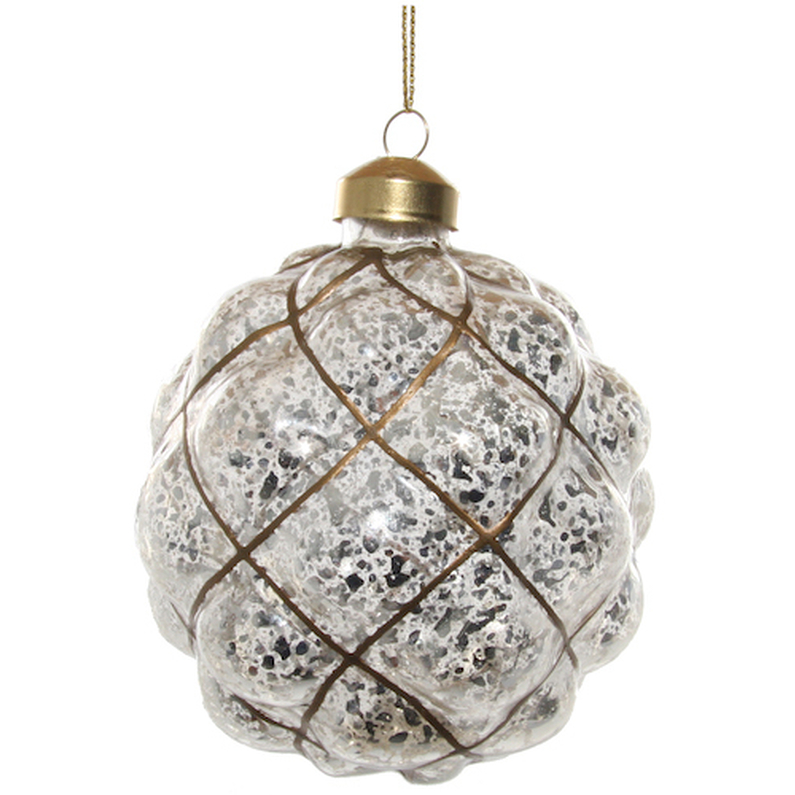 Glass ball antique silver/gold 10cm