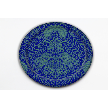 ROUND TRAY MAD - BLUE GREEN